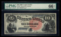 Large Size:Legal Tender Notes, Fr. 107 $10 1880 Legal Tender PMG Gem Uncirculated 66 EPQ.. ...