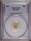 California Fractional Gold: , 1871 50C Liberty Round 50 Cents, BG-1011, R.2, MS65 PCGS. PCGSPopulation (27/7). (#10840)...