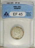 Coins of Hawaii: , 1883 25C Hawaii Quarter XF45 ANACS. NGC Census: (11/595). PCGSPopulation (25/996). Mintage: 500,000. (#10987)...