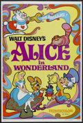 "Movie Posters:Animated, Alice in Wonderland (Buena Vista, R-1981). One Sheet (27"" X 41"").Animated. Starring the voices of Kathryn Beaumont, Ed Wynn..."
