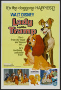 "Movie Posters:Animated, Lady and the Tramp (Buena Vista, R-1972). One Sheet (27"" X 41""). Animated. Starring Peggy Lee, Barbara Luddy, Larry Roberts ..."
