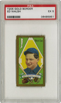 1911 T205 Gold Border Ed Walsh PSA EX 5. Brilliant color retention and strong gold bordering make this HOF T205 Ed Walsh...