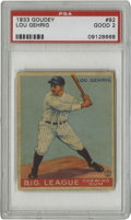 Baseball Cards:Singles (1930-1939), 1933 Goudey Lou Gehrig #92 PSA Good 2. Among the most coveted cardsin the hobby, the essential 1933 Goudey Gehrig #92 card ...