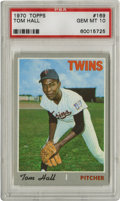 Baseball Cards:Singles (1970-Now), 1970 Topps Tom Hall #169 PSA Gem Mint 10. Known for the easily chipped gray borders, the 1970 Topps cards are a tough find ...