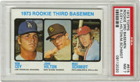 1973 Topps Rookie 3rd Basemen #615 Cey/Hilton/Schmidt PSA NM 7. Fine PSA 7 card from the '73 Topps set includes three ro...