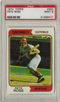 Baseball Cards:Singles (1970-Now), 1974 Topps Pete Rose #300 PSA Mint 9. Brilliant high-grade card hasas its subject Hit King Pete Rose. Tough to say what ke...