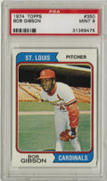 Baseball Cards:Singles (1970-Now), 1974 Topps Bob Gibson #350 PSA Mint 9. Dominant Hall of Fame hurlerBob Gibson's '74 Topps card exhibits nary a perceptible...