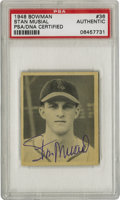 Autographs:Sports Cards, 1948 Bowman Signed Stan Musial #36 PSA Authentic. Brilliant signedrookie cardboard from one of the best-revered sluggers o...