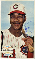 Autographs:Sports Cards, 1954 Topps Giants Signed Vada Pinson #56. Long-time Reds hero Vada Pinson has made the offered card for the '54 Topps Giants...