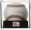 Autographs:Baseballs, Mario Andretti Single Signed Baseball, PSA NM-MT+ 8.5. Race legendmakes his desirable signature available on the offered O...