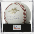 Autographs:Baseballs, Barry Bonds Single 2002 World Series Signed Baseball, PSA Mint 9.Official 2002 World Series baseball has been adorned with...