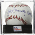 "Autographs:Baseballs, Jim Bunning ""HOF 96"" Single Signed Baseball, PSA Mint+ 9.5. TheRepublican Senator makes note of his 1996 Hall of Fame indu..."