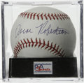 "Autographs:Baseballs, Oscar Robertson Single Signed Baseball, PSA Mint 9. Basketballlegend the ""Big O"" Oscar Robertson has signed the offered OM..."