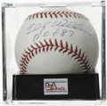 "Autographs:Baseballs, Billy Williams ""HOF 87"" Single Signed Baseball, PSA Mint 9. Hugesweet spot sig from Billy Williams, who adds inscription a..."
