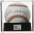 Autographs:Baseballs, Ted Williams Single Signed Baseball, PSA Mint 9. Splendid sweetspot sig from the scientific hitter Ted Williams. Ball has...