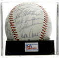 Autographs:Baseballs, 1990 Los Angeles Dodgers Team Signed Baseball, PSA NM-MT 8.Twenty-seven members of Tommy Lasorda's 1990 Los Angeles Dodger...