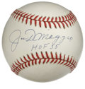 "Autographs:Baseballs, Joe DiMaggio ""HOF 55"" Single Signed Baseball. Joltin' Joe DiMaggio has used the provided OAL (Budig) orb as a canvas for hi..."