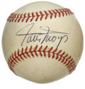 Autographs:Baseballs, Willie Mays Single Signed Baseball. The Say Hey Kid Willie Mays hasleft a tremendous sweet spot signature on the provided ...