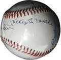 Autographs:Baseballs, Baseball Stars Multi-Signed Baseball. Six of the sport's finestplayers have checked in on the OAL (Brown) we present here....
