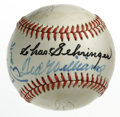 Autographs:Baseballs, Hall of Famers Baseball Signed by 8. Outstanding collection ofeight Hall of Fame signatures are here on the surface of the...
