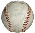 Autographs:Baseballs, 1957 Boston Red Sox/San Francisco Seals Team Signed Baseball. In what amounts to one of the more unique offerings we have m...