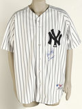 "Autographs:Jerseys, Wade Boggs ""96 W.S. Champs"" Signed Jersey. Russell Athletic Authentic Collection white pinstripe home New York Yankees shir..."