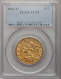 Liberty Eagles, 1851-O $10 AU55 PCGS. Variety 2....