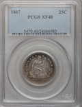 Seated Quarters, 1867 25C XF40 PCGS....