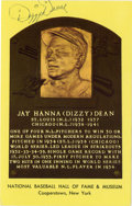 Autographs:Post Cards, Dizzy Dean Signed Hall of Fame Plaque. When he entered the leaguein 1932 at the age of 21, Dizzy Dean became a part of the...