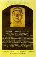 Autographs:Post Cards, Lefty Grove Signed Gold Hall of Fame Plaque. Known as perhaps thefinest left-handed pitcher in the game's history, Lefty G...