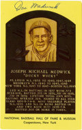"Autographs:Index Cards, Joe Medwick Signed Gold Hall of Fame Plaque. ""Ducky"" Joe Medwick onthe NL Triple Crown in 1937, the last time that feat ha..."