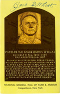 Autographs:Post Cards, Zach Wheat Double-Signed Gold Hall of Fame Plaque. Line-drive hitter Zach Wheat racked up tremendous stats during his care...