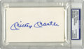 "Autographs:Index Cards, Mickey Mantle Signed Index Card. Unlined 3x5"" index card sports astunning blue sharpie signature courtesy of switch-hittin..."