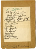 Autographs:Letters, 1930s San Francisco Seals Signed Sheet. Brilliantly preservedteam-signed sheet has the autographs of 18 members of the San...
