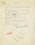 Autographs:Letters, Grantland Rice Signed Typed Letter. Legendary journalist GrantlandRice has signed a perfect black fountain ink autograph t...