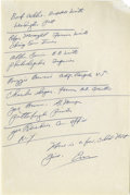 "Autographs:Letters, Enos Slaughter Signed Handwritten List. This list has been writtenon a 6x9"" stationary page and contains a list of handwri..."