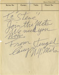 Autographs:Others, Casey Stengel Signed Restaurant Ticket. The distinguished baseballlegend Casey Stengel has signed the provided restaurant ...