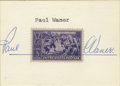 Autographs:Others, Paul Waner Cut Signature with 1939 Postage Stamp. Charming displayputs a nice vintage 1939 postage stamp together with a s...