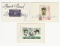 "Autographs:Others, Baseball Hall of Famers Cut Signatures with Vintage Postage StampsLot of 3. Nice collection of 2.5x3.5"" cards, to which vi..."
