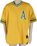 Baseball Collectibles:Uniforms, 2002 John Mabry Game-Worn Throwback Jersey. The long-time utility man John Mabry spent the 2002 season with the Oakland Ath...
