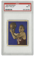 Basketball Cards:Singles (Pre-1970), 1948 Bowman Basketball Andy Phillip #9 PSA NM 7. One of animpressive procession of graded cards from the 1948 Bowman baske...