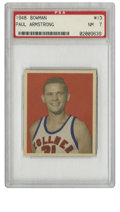 Basketball Cards:Singles (Pre-1970), 1948 Bowman Basketball Paul Armstrong #13 PSA NM 7. Greathigh-grade example from the 1948 Bowman basketball set takes asi...