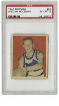 Basketball Cards:Singles (Pre-1970), 1948 Bowman Basketball William Holzman #32 PSA EX-MT 6. Thelong-time head coach for the New York Knicks Red Holzman led hi...