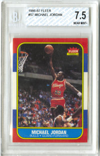 1986-87 Fleer Michael Jordan #57 Beckett NM+ 7.5. Great example in what amounts to the perhaps the single most desirable...