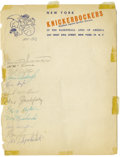 Basketball Collectibles:Others, 1951-52 New York Knicks Team Signed Sheet. Official New YorkKnickerbocker stationary is the venue for this collection of t...