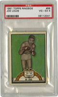 Boxing Cards:General, 1951 Topps Ringside Joe Louis #88 PSA VG-EX 4. Beautiful #88 cardfrom Topps' great 1955 Ringside boxing issue serves up th...