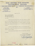"Boxing Collectibles:Autographs, 1953 Henry Armstrong Signed Typed Letter. The former welterweightworld boxing champ who was affectionately known as ""Homic..."