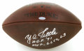 """Football Collectibles:Balls, Y.A. Tittle Single Signed Football. Wilson """"The Duke"""" football has been signed in a barely believable silver sharpie stroke..."""