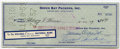 Autographs:Checks, 1959 Vince Lombardi Signed Check. Football coaching legend VinceLombardi signed this check in 1959 paid to the order of He...