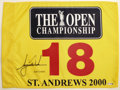 Golf Collectibles:Autographs, Tiger Woods Signed 2000 British Open Pin Flag. A legend in his owntime, Tiger Woods has done much to change the image of t...